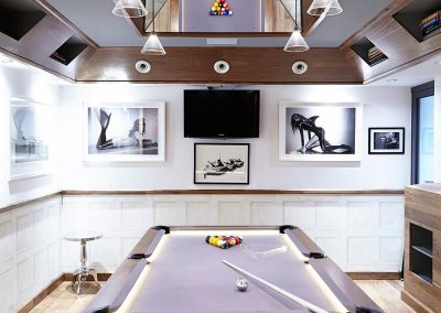 "pool table in ""man cave"" in West London designed by Ben Rousseau"