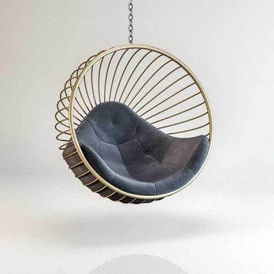 Bubble chair Gold frame Dark Grey cushion Hanging