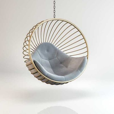 Bubble chair Gold frame light Grey cushion Hanging