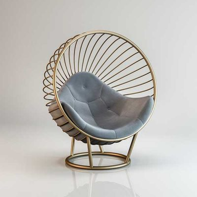 Bubble chair Gold frame light Grey cushion Outdoors