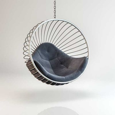 Bubble chair Silver frame Dark Grey cushion Hanging