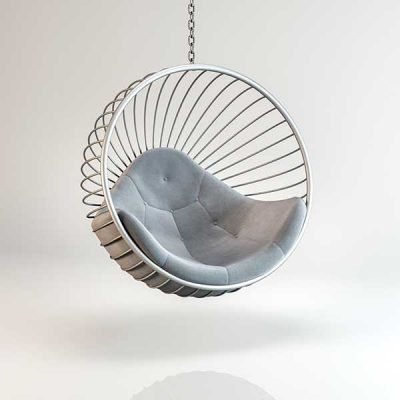 Bubble chair Silver frame light Grey cushion Hanging