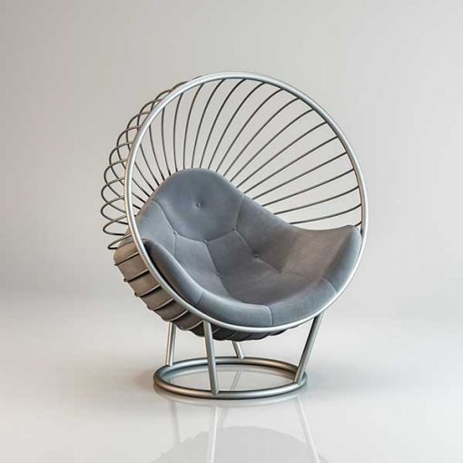 Bubble chair Silver frame light Grey cushion Outdoors