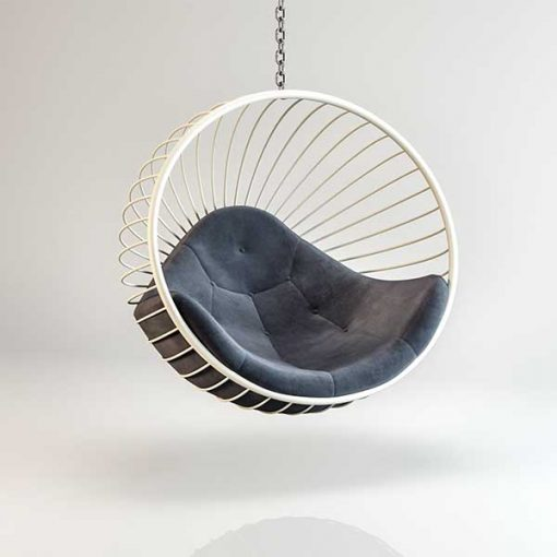 Bubble chair White Hanging frame dark Grey cushion Outdoors