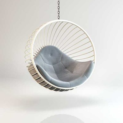 Bubble chair White Hanging frame light Grey cushion Outdoors