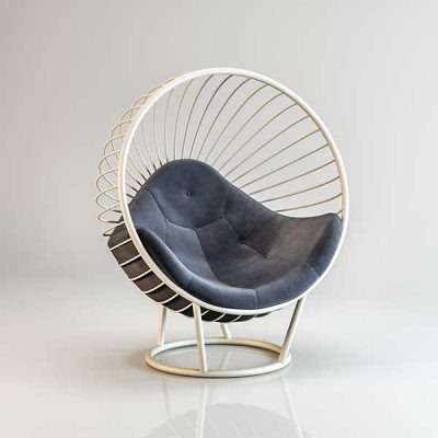 Bubble chair White frame Dark Grey cushion
