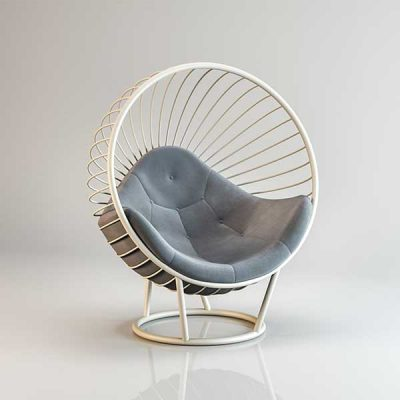 Bubble chair white frame Grey cushion Outdoors
