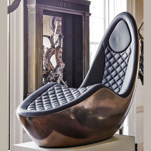 Rousseau Caillou Chaise Bronze & Leather