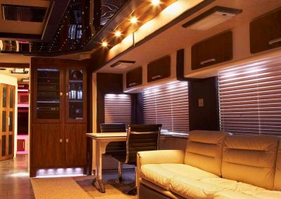 Gulfstream tour bus with interior designed by Ben Rousseau